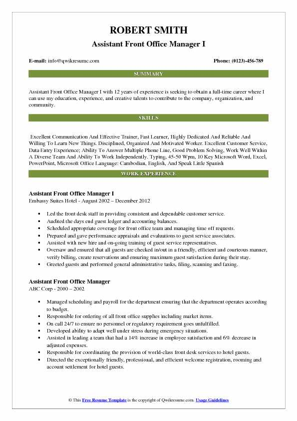 Assistant Front Office Manager I Resume Example