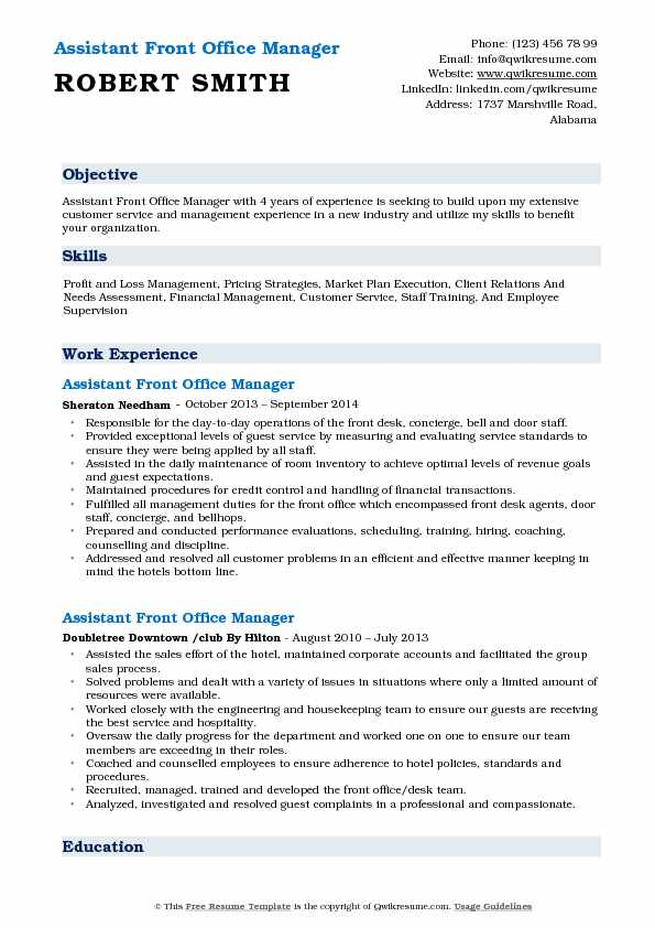 Assistant Front Office Manager Resume Model