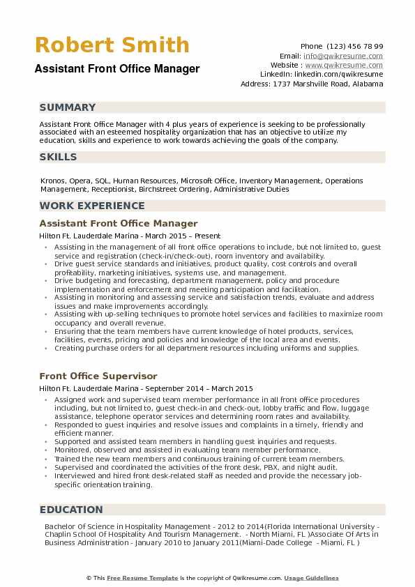 assistant front office manager resume samples