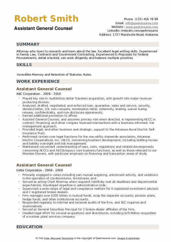 Assistant General Counsel Resume example