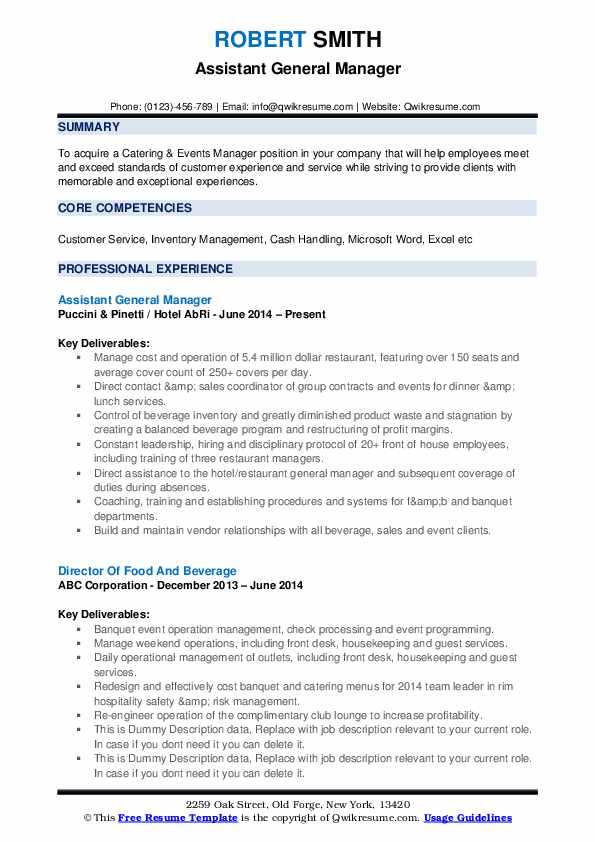 assistant general manager 1547860744 pdf - Great hotel general manager resume sample