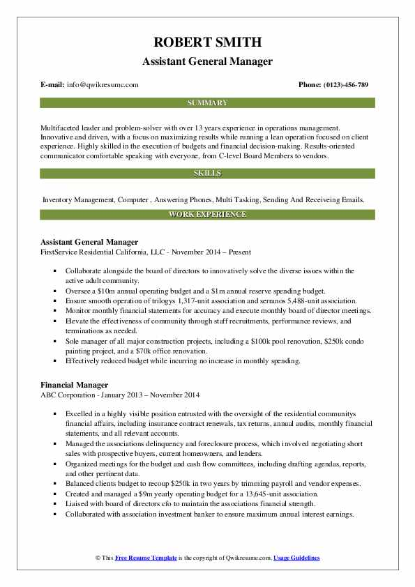 Assistant General Manager Resume Format