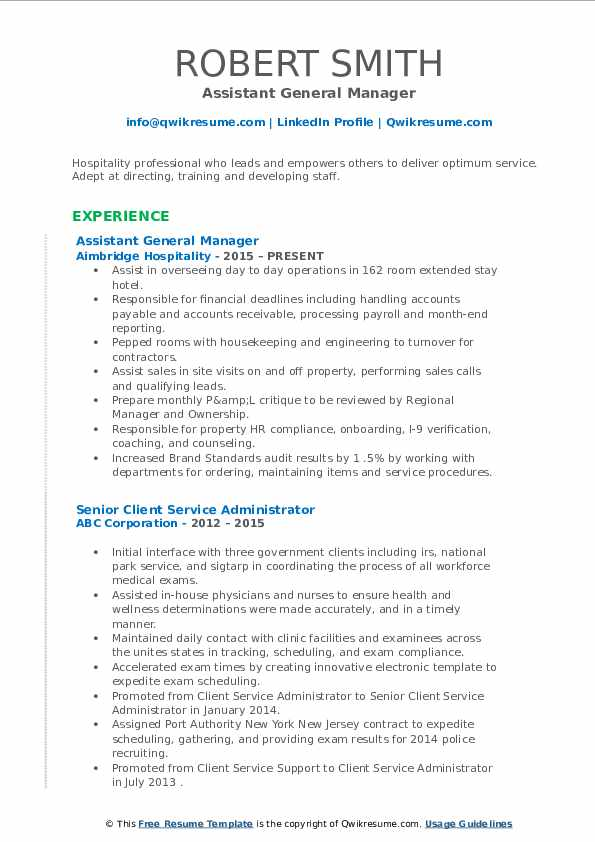 Assistant General Manager Resume Example