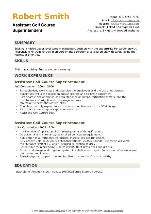 Assistant Golf Course Superintendent Resume example