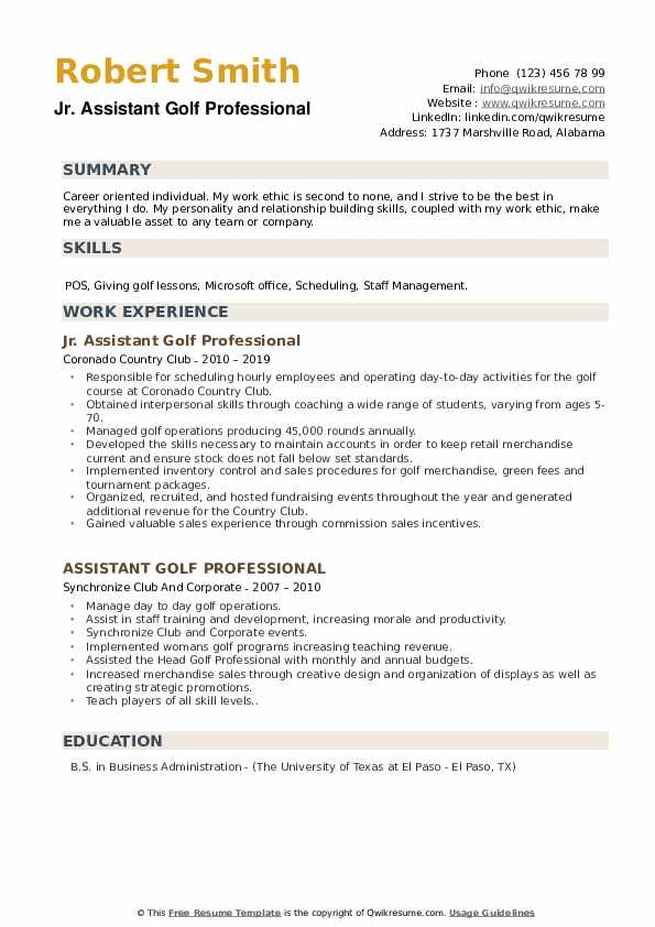 assistant golf professional resume samples
