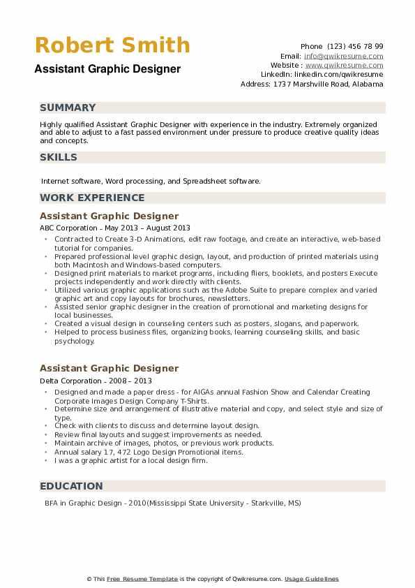 Assistant Graphic Designer Resume example