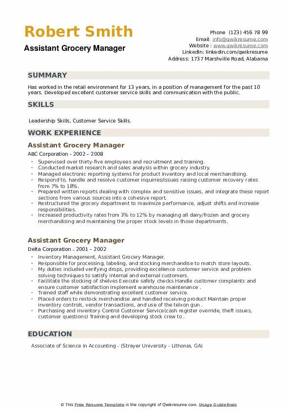 Assistant Grocery Manager Resume example