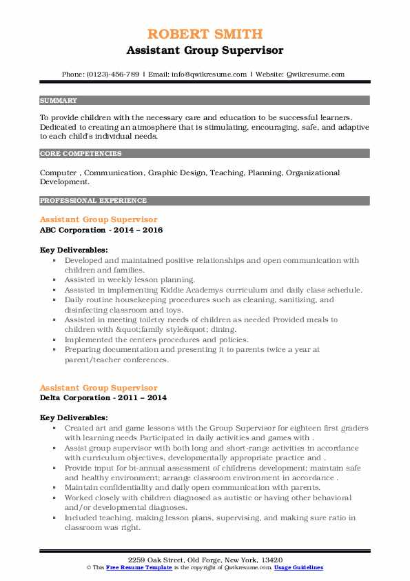 Assistant Group Supervisor Resume example