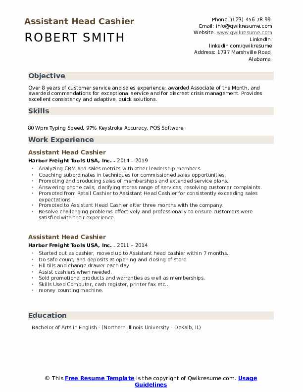 Assistant Head Cashier Resume Template