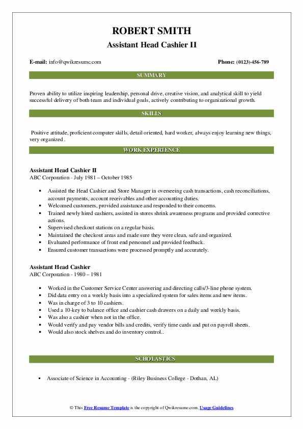 Assistant Head Cashier II Resume Model