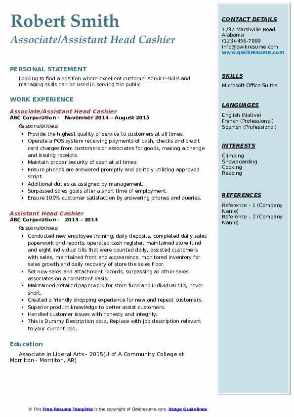 Associate/Assistant Head Cashier Resume Template