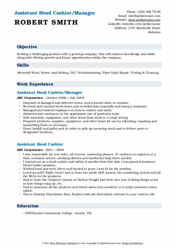 Assistant Head Cashier/Manager Resume Template