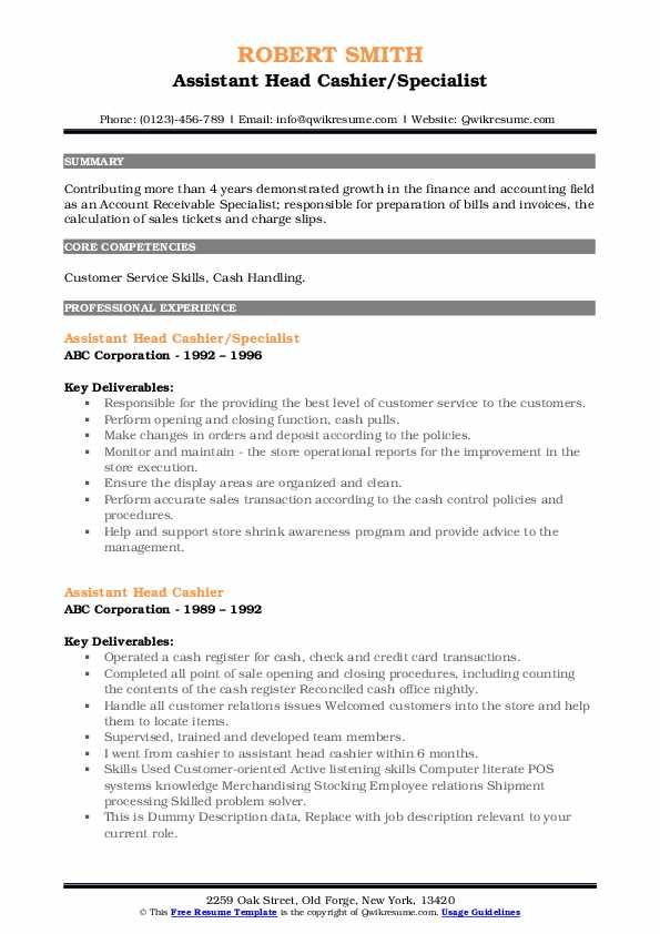 Assistant Head Cashier/Specialist Resume Sample