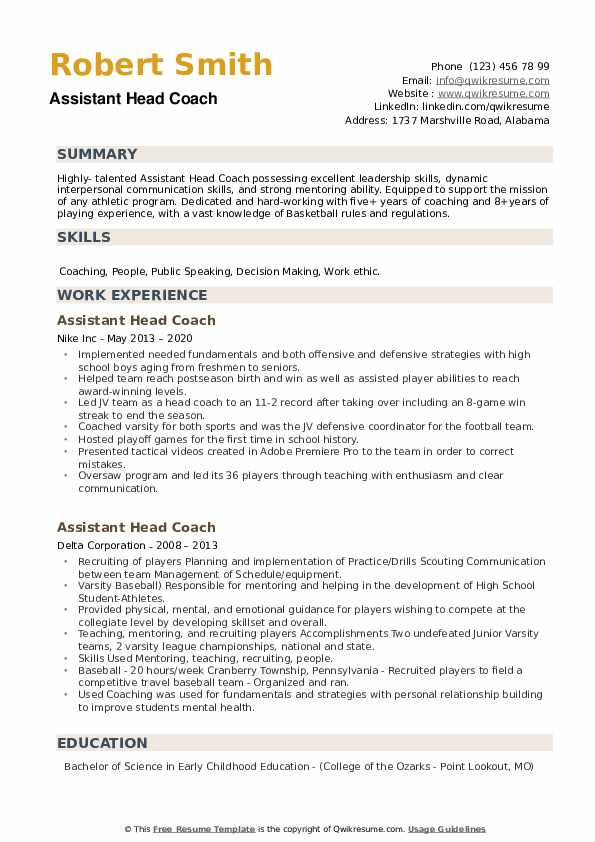 Assistant Head Coach Resume example