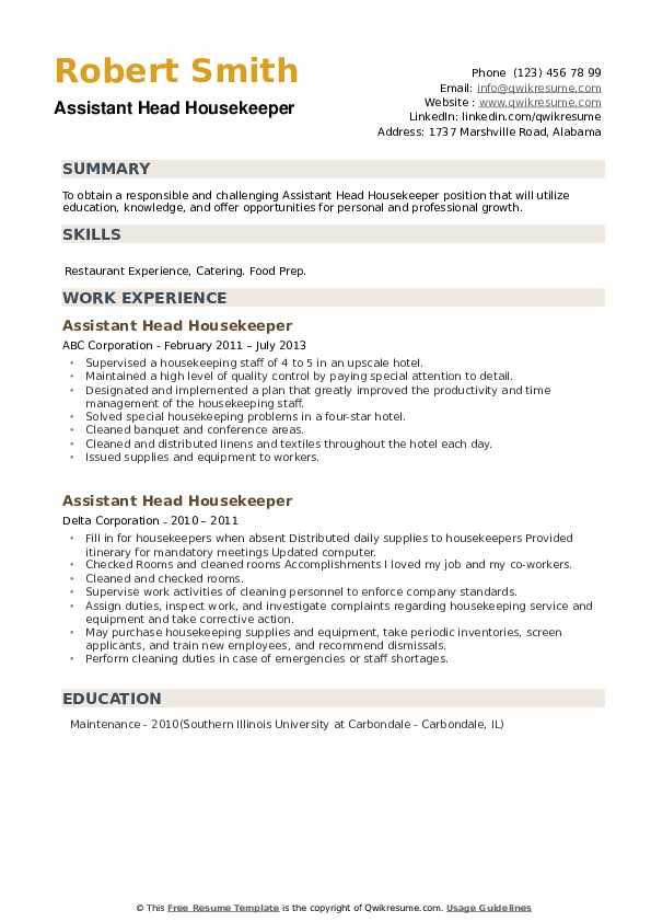Assistant Head Housekeeper Resume example