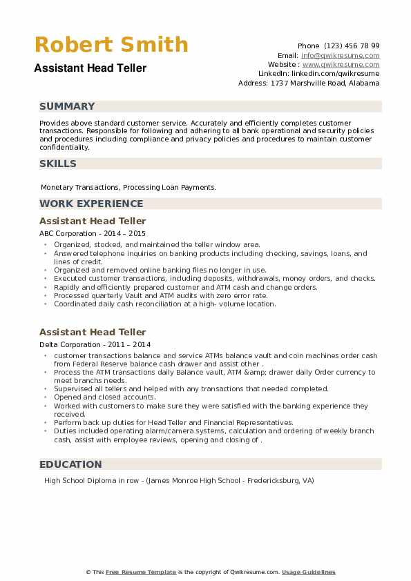 Assistant Head Teller Resume example