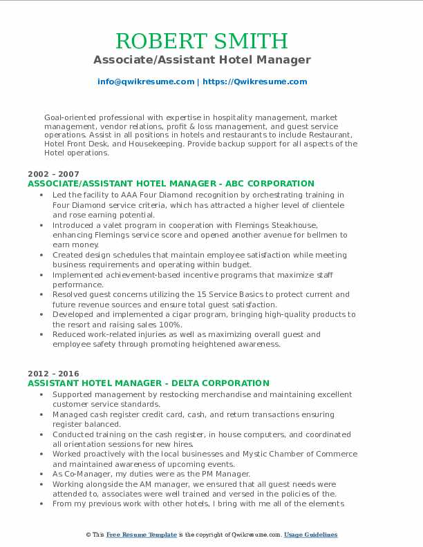 assistant hotel manager resume samples  qwikresume