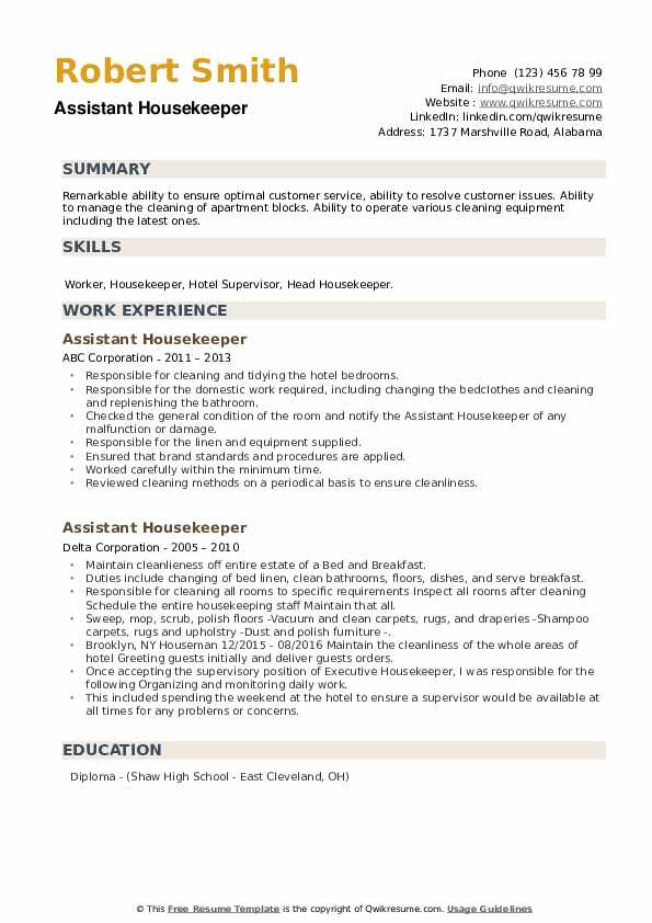 Assistant Housekeeper Resume example