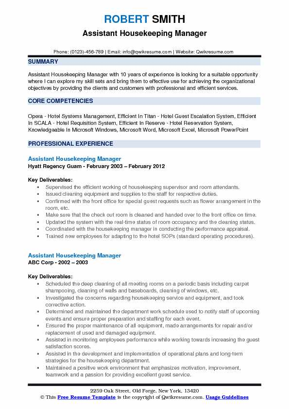 Assistant Housekeeping Manager Resume Format