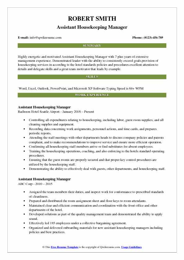 Assistant Housekeeping Manager Resume Model