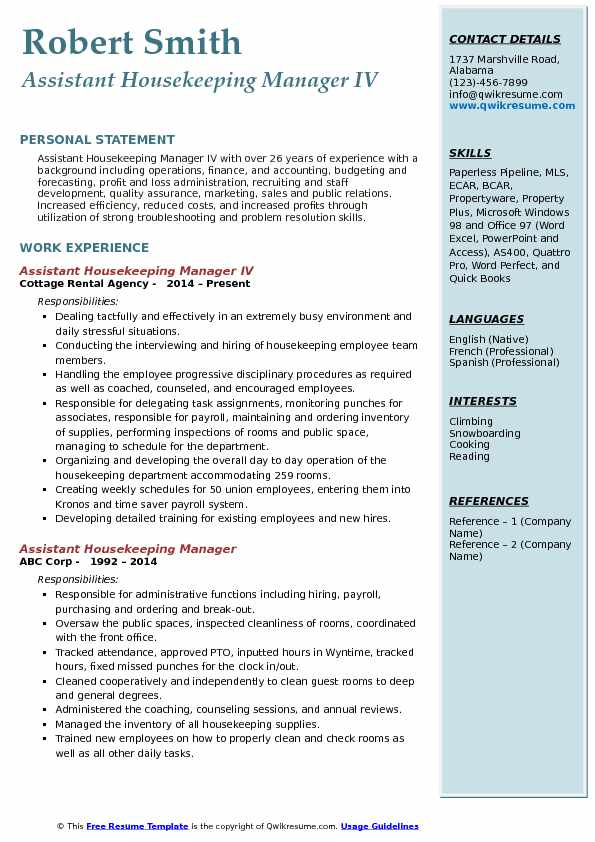 Assistant Housekeeping Manager IV Resume Example