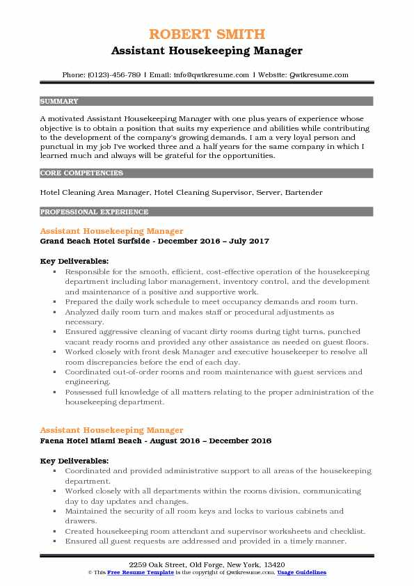 Assistant Housekeeping Manager Resume Template