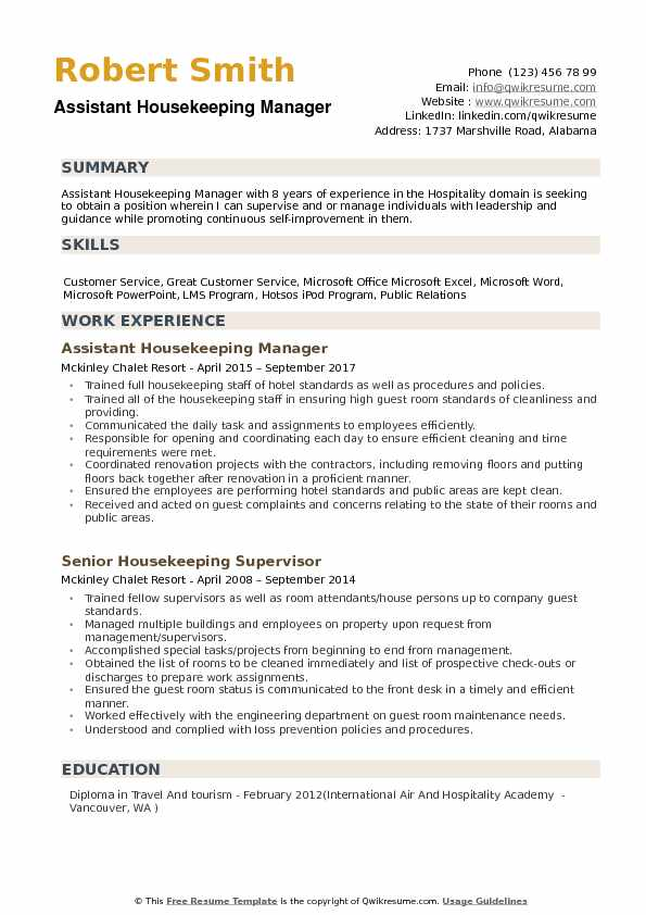 Assistant Housekeeping Manager Resume example