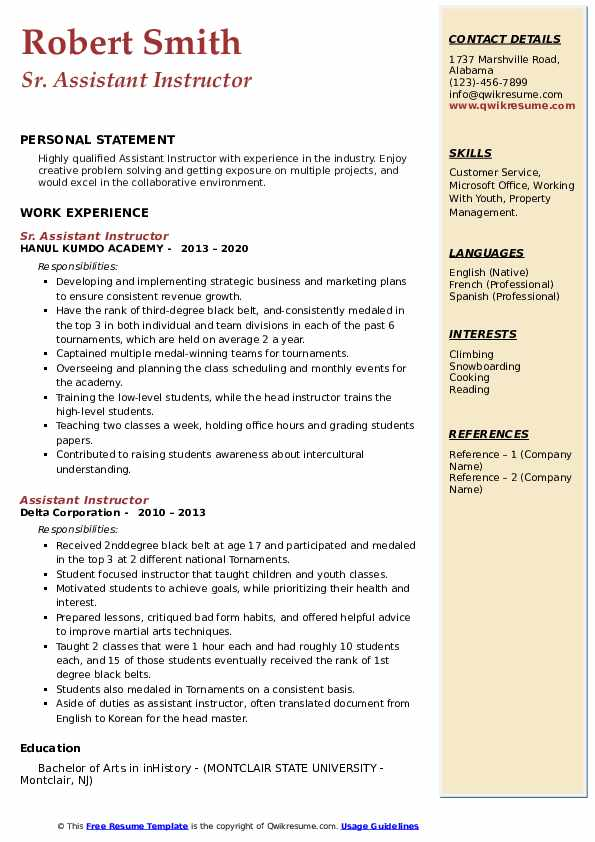 Assistant Instructor Resume example