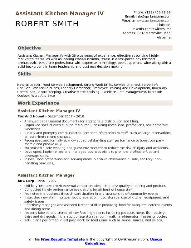 Assistant Kitchen Manager IV Resume Format