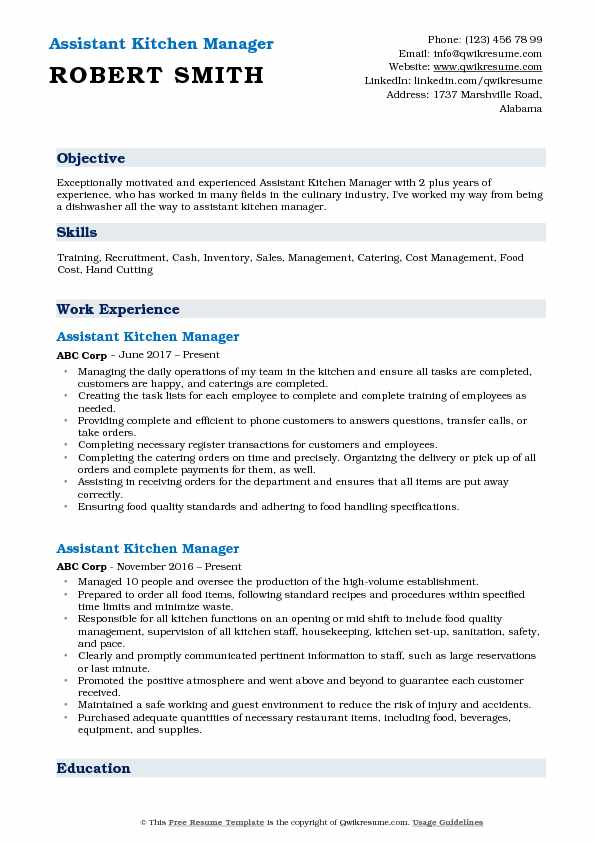 Assistant Kitchen Manager Resume Model