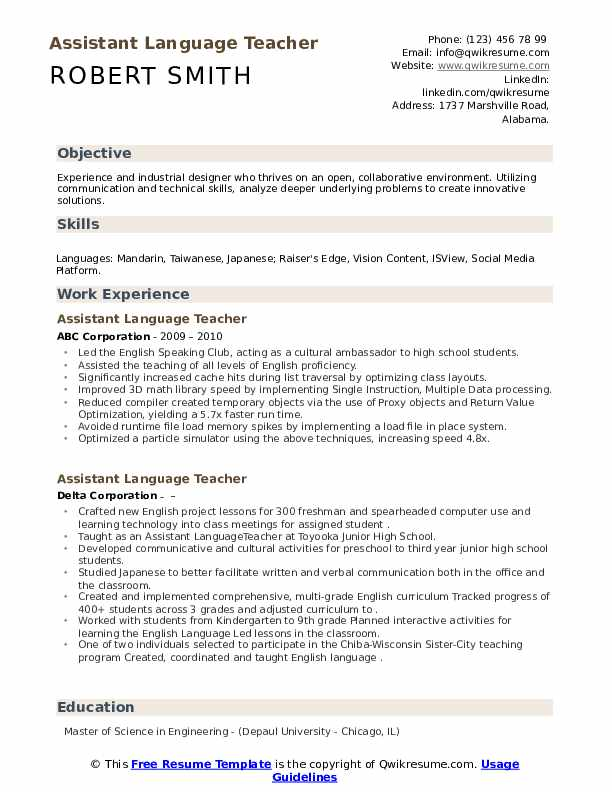 Assistant Language Teacher Resume Samples Qwikresume