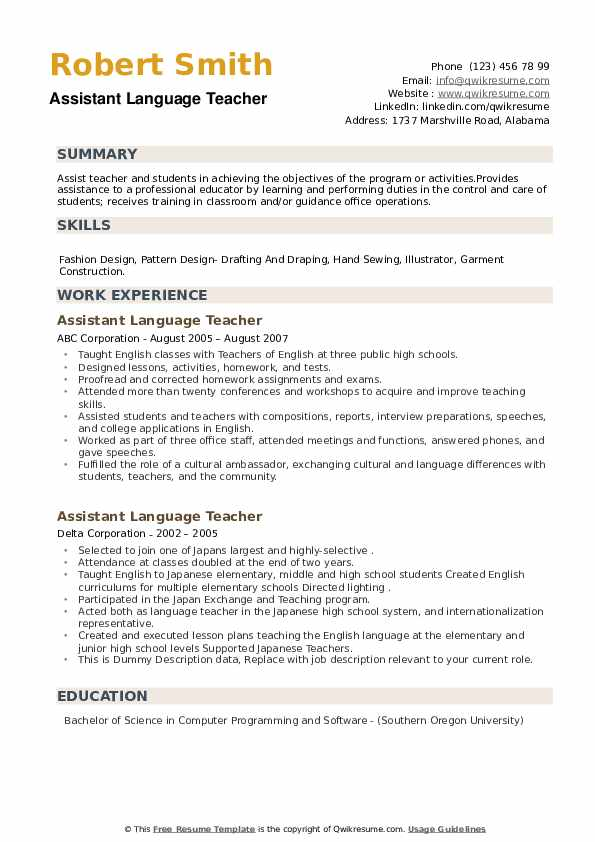 Assistant Language Teacher Resume example