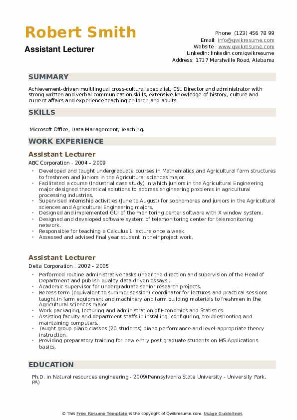 Assistant Lecturer Resume example