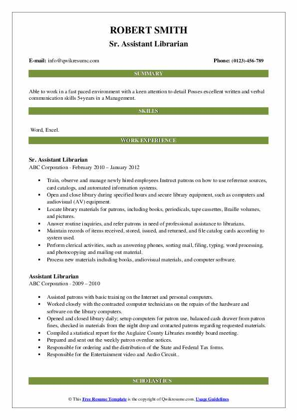 Sr. Assistant Librarian Resume Example