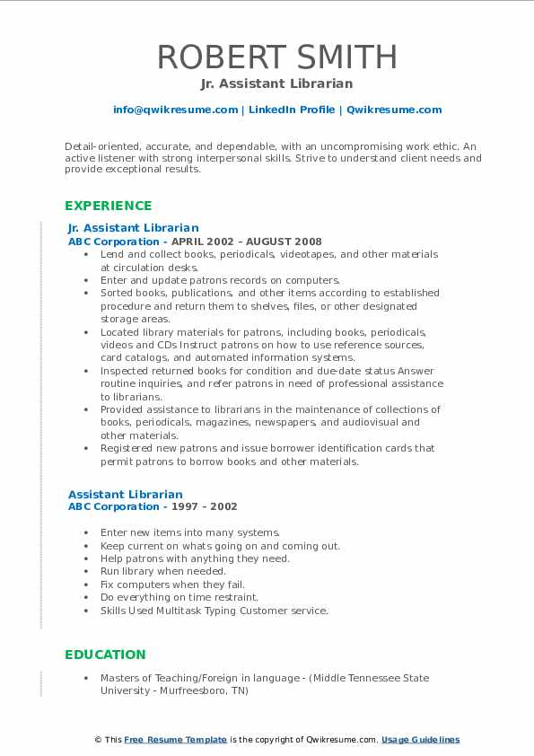 Jr. Assistant Librarian Resume Example