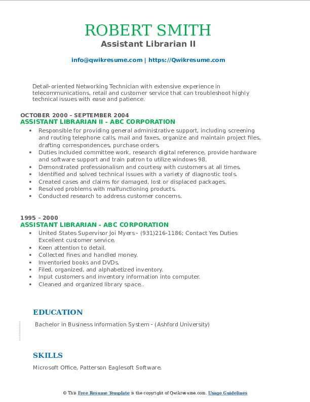Assistant Librarian II Resume Example