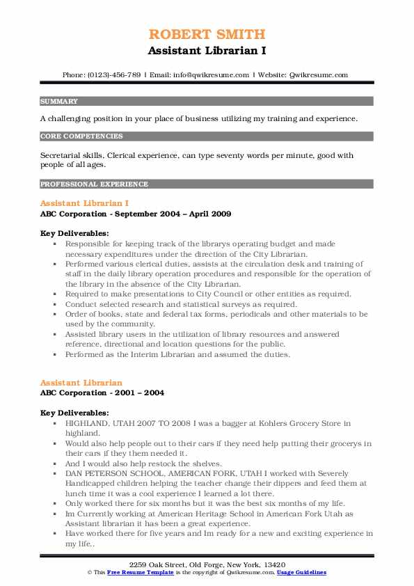 Assistant Librarian I Resume Example