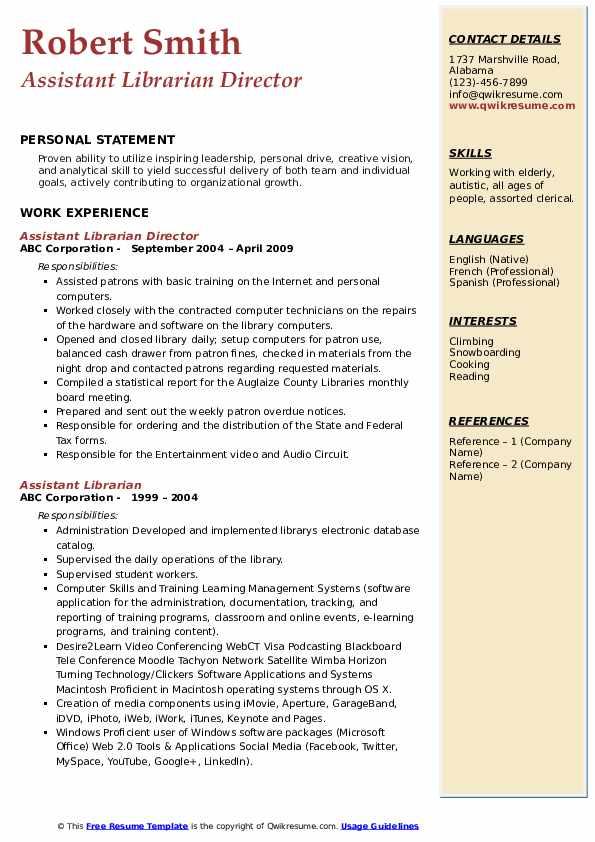 Assistant Librarian Director Resume Model