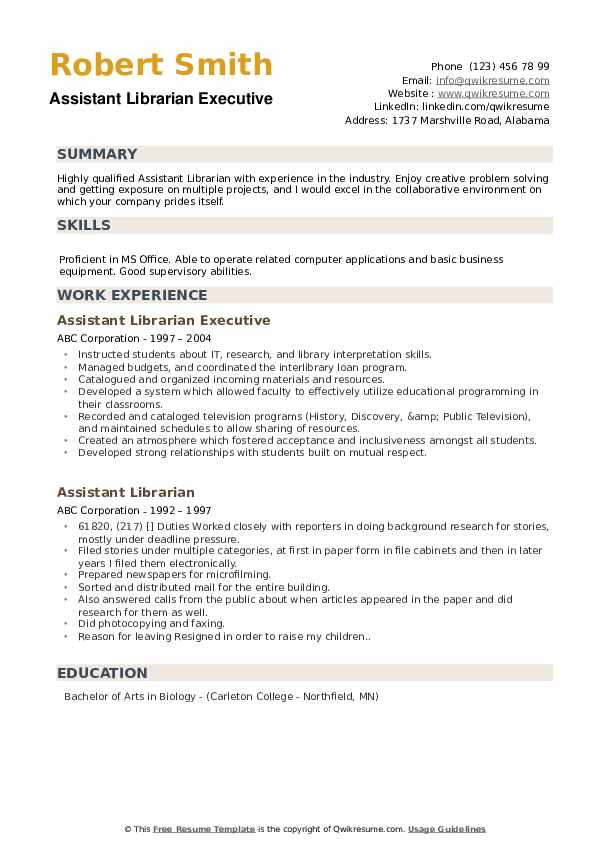 Assistant Librarian Executive Resume Model