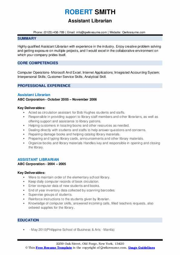 Assistant Librarian Resume example
