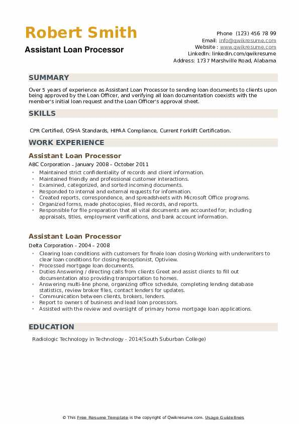 Assistant Loan Processor Resume example
