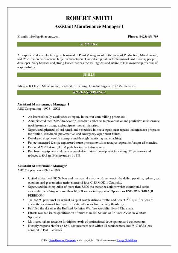 Assistant Maintenance Manager Resume example