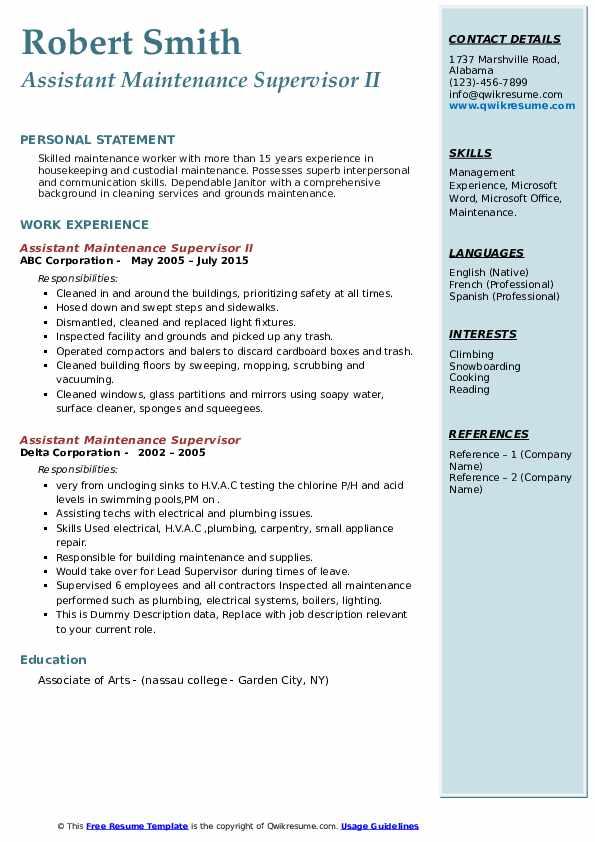 assistant maintenance supervisor resume samples