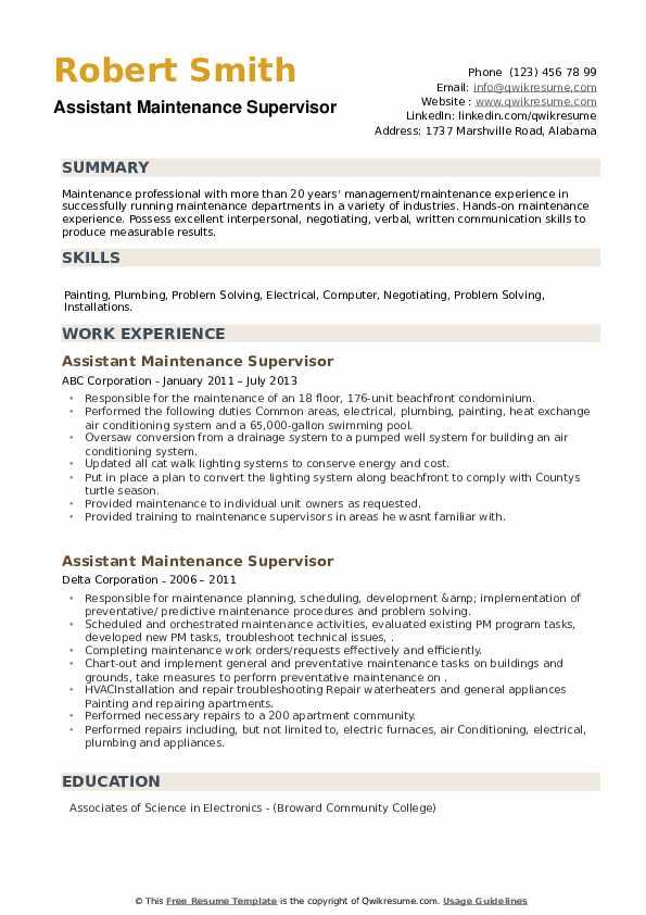 Assistant Maintenance Supervisor Resume example