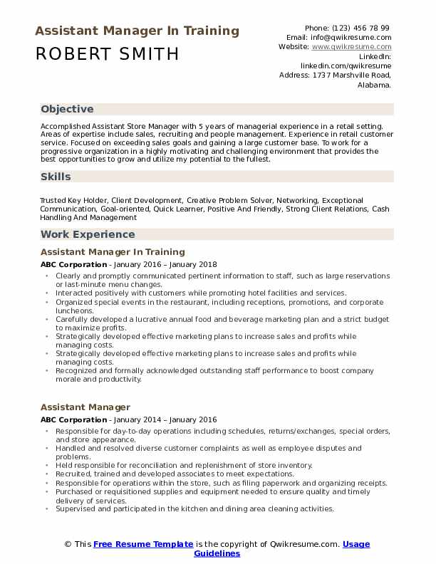 Assistant Manager In Training Resume Model