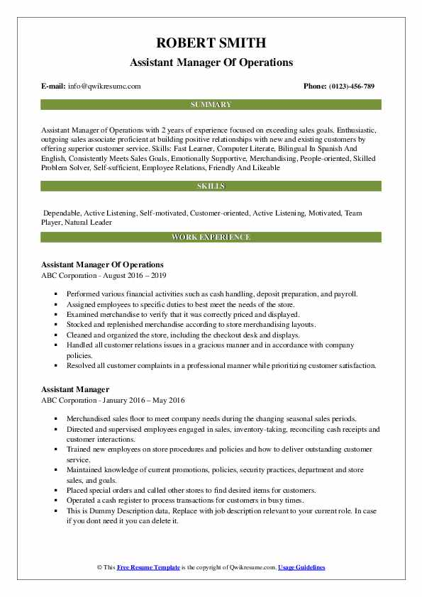 Assistant Manager Of Operations Resume Template