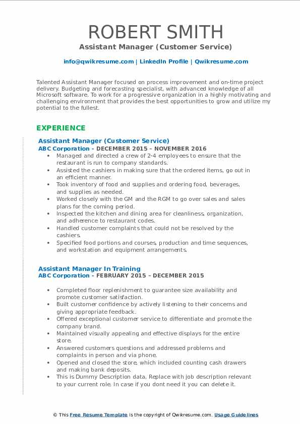 Assistant Manager (Customer Service) Resume Example