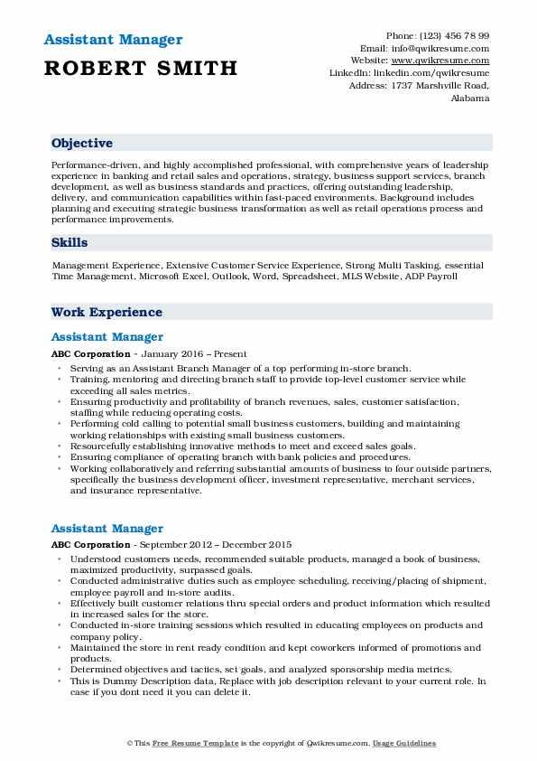 Assistant Manager Resume Model