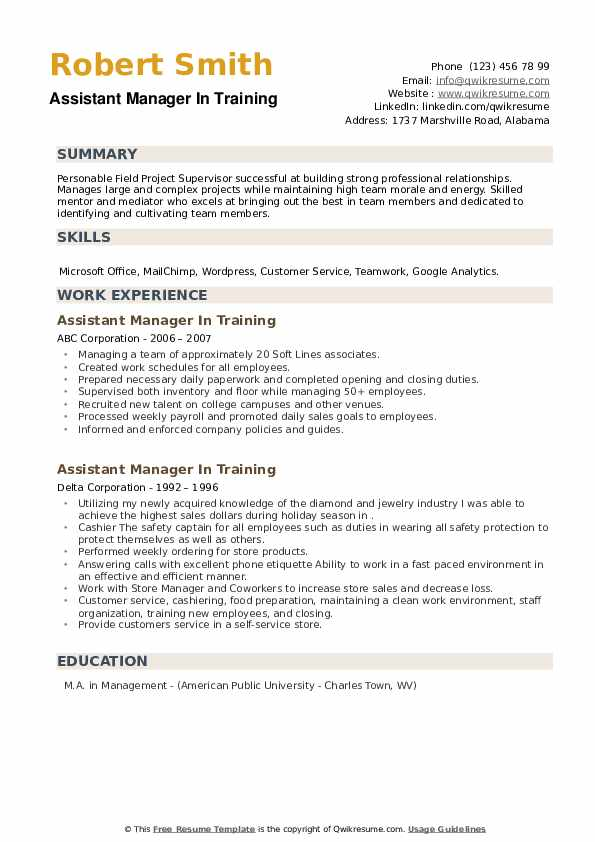 Assistant Manager In Training Resume example