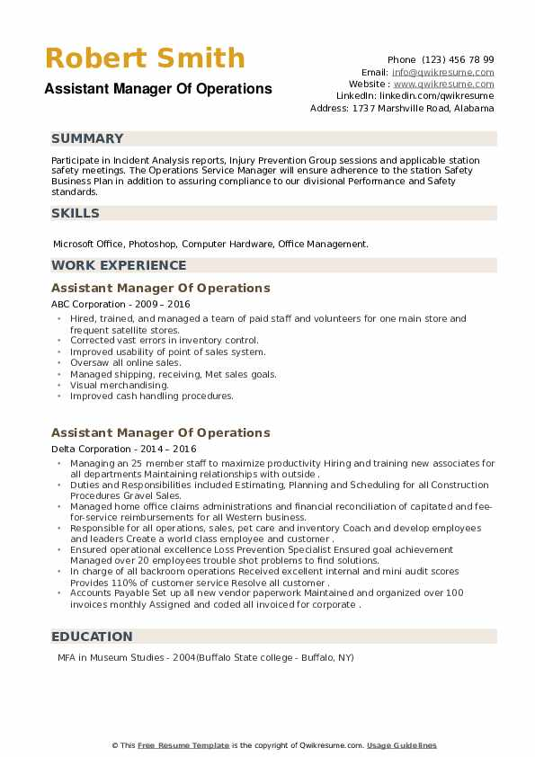 Assistant Manager Of Operations Resume example